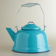 Turquoise Enamel Tea Kettle
