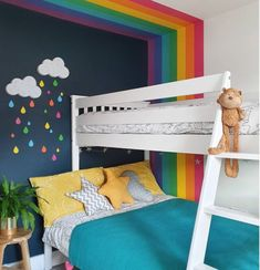 Kids Bedroom Paint, Cool Kids Bedrooms, Painting Kids Rooms, Childrens Bedroom Ideas, Bedroom For Girls Kids, Boy Room Paint, Kids Bedroom Furniture, Bedroom Wall, Rainbow Room Kids