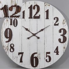 Round Wall Clocks | Distressed Finish Wall Clock | Kitchen Clocks