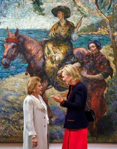 Belgium's Princess Astrid, right, talks to Gloria Zea, left, the Director of Modern Art Museum of Bogota, in Bogota, Colombia, 19.10.2014.