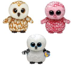 Ty Swoops, Pinky & Spells Owls Set of 3  Beanie Boos Stuffed Animal Plush Toy