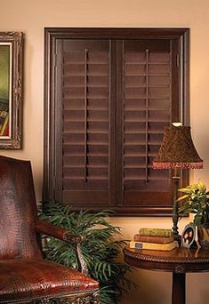 Dark shutters, leather chair for that British Colonial style Interior Window Shutters, Interior Windows, Wooden Shutters Indoor, Indoor Shutters For Windows, Style At Home, British Colonial Decor, House Design, Interior Design, House Styles
