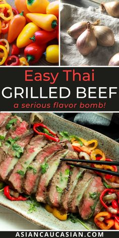 This Thai Grilled Beef with Green Curry Sauce will be on rotation in your kitchen for years to come! Tender beef, char-grilled bell peppers, and a fiery sauce are a flavor bomb in your mouth! Perfect for summer cookouts and celebrations, this easy Asian recipe will not disappoint! Grilled Bell Peppers, Stuffed Peppers, Green Curry Sauce, Healthy Asian Recipes, Grilled Beef, Curry Paste, Beef Recipes, Celebrations, Grilling