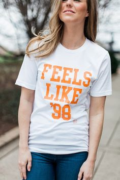Feels Like '98 White Short Sleeve T-shirt University of Tennessee  Game day apparel for women Volunteers