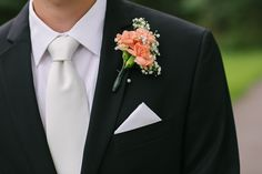 Peach Carnation and Baby's Breath Boutonniere