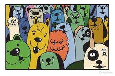 """""""hand draw cute dog doodle style"""" by Chris olivier Framed Prints, Canvas Prints, Art Prints, Art Boards, Wall Tapestry, Decorative Throw Pillows, Cute Dogs, Monsters, Classic T Shirts"""