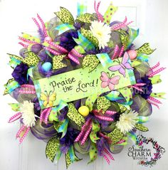 Easter deco mesh wreaths | Deco Mesh EASTER Wreath Praise the Lord Sign Lime Green ... | Craft I ...