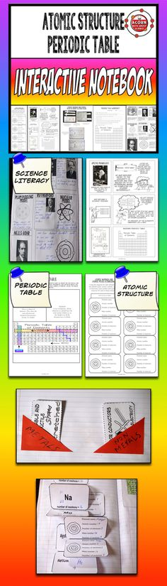 Science interactive notebook on the structure of the atom and the periodic table.