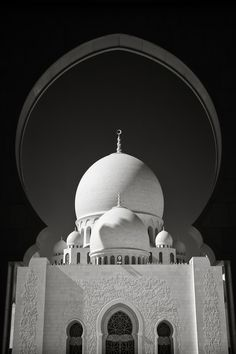 A beautiful photo gallery of the Sheikh Zayed Grand Mosque in Black and White taken in Abu Dhabi, UAE. Mosque Architecture, Ancient Greek Architecture, Chinese Architecture, Futuristic Architecture, Beautiful Architecture, Medina Wallpaper, Quran Wallpaper, Islamic Wallpaper, Iphone Wallpaper