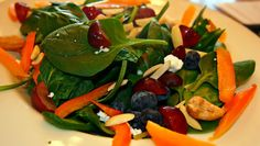 Spinach, Bell Peppers, Blueberries, Grapes, Feta, Cashes, and Sliced Almonds Salad