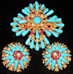 Har Turquoise Blue Red Rhinestone Faux Pearl Pin Earring Set | eBay