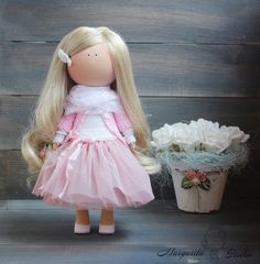 Hand made soft doll, pink, blonde color, gift doll, Baby doll, Collectable doll, Soft doll, Fashion doll, Art doll by Master Margarita Hilko