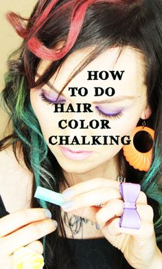 DIY chalk hair: ***not to this extreme, but would be fun for a few strands!!*** 1) get soft color pastels (not oil) from craft store.  2) apply conditioner to prime the hair cuticle.  3) rub color down in one direction.  4) Air dry  5) go over it w/an iron (curling or straight) to seal.  6) apply a bit of hairspray to further seal.  * Stains (but washes out)