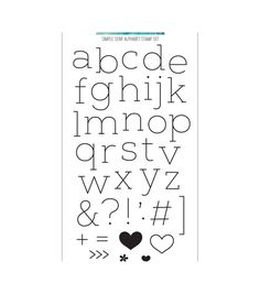 stamp set with 39 images including all letters of the alphabet, punctuation, a bracket and other fun embellishments like hearts, flower and arrows. Coordinates with Simple Serif Alphabet dies NOTE: the letter n is also used as the letter u. Cute Fonts Alphabet, Hand Lettering Alphabet, Alphabet Stamps, Simple Calligraphy Alphabet, Letter Fonts, Lettering Art, Simple Lettering, Concord And 9th, Printable Letters