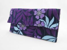 Purple Floral Quilted Tri-Fold Wallet via Etsy