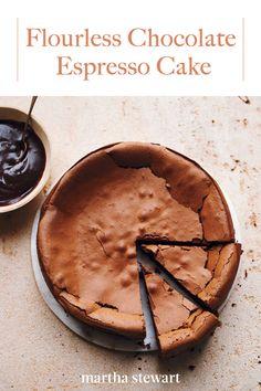 Flourless Chocolate Espresso Cake, Recipe from Martha Stewart Living, September 2013 Food Cakes, Cupcake Cakes, 7 Cake, Fudge Cake, Brownie Cake, Flourless Chocolate Cakes, Chocolate Glaze, Molten Chocolate, Chocolate Meringue