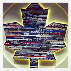 Toronto Maple Leafs Show Off Their Cool Hockey-Sticks-Logo Art Hockey Man Cave, Hockey Room, Ice Hockey, Toronto Maple Leafs Logo, Hockey Stick Crafts, Hockey Sticks, Classy Man Cave, Hockey Decor, Maple Leafs Hockey