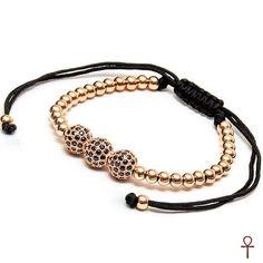 KTT Shiny Balls Tria Rose Beaded Zircon Stone Bracelet #men #menfashion #menstyle #shiny #rose #beaded #zircon #bracelet
