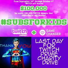 Okay I'm going to gush here a second I need to be a Valkyrie of hype for Twitch right now. Till the end of the day : For every 100K subs Twitch Prime will donate $100K to charity and its the last day for that! You can get a Free Subscription to twitch right now with the 30 day free trial of Twitch Prime. THis counts towards the #gamechanger #subsforkids  If you have amazon prime and link it to your twitch account for a twitch Prime http://ift.tt/2cGSyJe You get look and other cool things as…