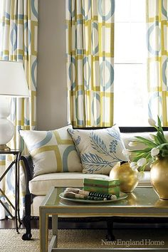 Pale yellow/gold in the bedroom? Love it with the blue. (Mix Patterns Curtains)