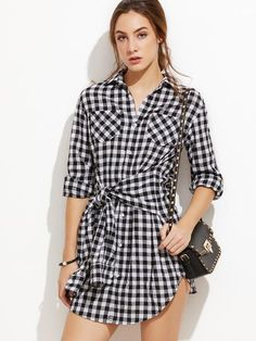 Black & White Gingham Sleeve Tie Front Shirt Dress - Zooomberg