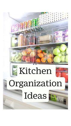 Refrigerator Organization, Kitchen Organization Pantry, Diy Kitchen Storage, Home Organization Hacks, Organize Small Pantry, Organizing Ideas For Kitchen, Small Kitchen Decorating Ideas, Small House Storage Ideas, Diy Kitchen Ideas