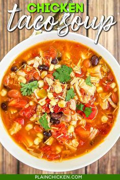 Chicken Taco Soup - Chicken, beans, corn, tomatoes, ranch mix, and taco seasoning. Can be made in two different ways - on the stovetop with some rotisserie chicken or in the slow cooker with some boneless chicken breasts. Either way, it is super delicious and packed FULL of flavor! Serve with some cornbread for a delicious meal! #slowcooker #crockpot #glutenfree #chicken #tacosoup #mexican Chicken Tortilla Soup, Chicken Soup Recipes, Chicken Tacos, Recipe Chicken, Taco Soup With Chicken, Fiesta Chicken, Chicken Soups, How To Cook Chicken, Slow Cooker Recipes