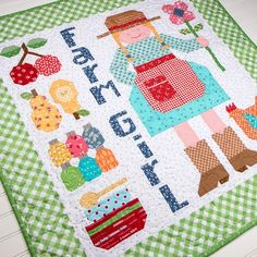 """Happy Farm Girl Downloadable PDF Quilt Pattern Bee in my Bonnet -- This pattern is a companion project to Lori Holt's Farm Girl Vintage book. Finished size: 37 1/2"""" x 37 1/2""""."""