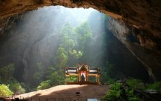 Temple in a cave on the resort Rayong, Thailand