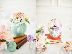 Great use of tea pots and books for decorating tables at a wedding breakfast. Wedding of Hassan & Emily from Dominique Bader Photography