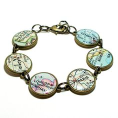Custom Map Bracelet. You Select Six Locations. Anywhere In The World. Travel. Map Jewelry. on Etsy, $30.00