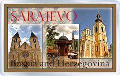 $3.29 - Acrylic Fridge Magnet: Bosnia and Herzegovina. Sarajevo. Sebilj And Serb Orthodox Cathedral And Sacred Heart Cathedral