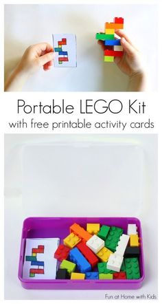DIY Portable LEGO Kit with 24 Free Printable Activity Cards. A great idea for t. - DIY Portable LEGO Kit with 24 Free Printable Activity Cards. A great idea for those times where yo - Lego Kits, Travel Activities, Preschool Activities, Airplane Activities, Summer Activities, Visual Motor Activities, Printable Activities For Kids, Indoor Activities, Family Activities