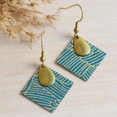 Boucles d'oreilles carrés japonais vert canard et or · lilifabrique