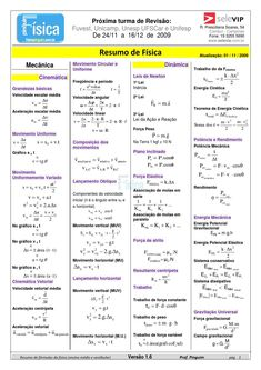 Resumo das fórmulas física Theoretical Physics, Physics And Mathematics, School Diary, Mental Map, Chinese Lessons, Exams Tips, Study Organization, Study Planner, Science Facts