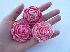 3pcs crochet roses/crochet flowers