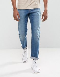 ASOS Stretch Slim Jeans In Mid Wash Blue - Blue