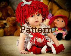 Baby Hat Raggedy Ann wig PATTERN This is a P A T T E R N.  Crochet Hat baby girl Halloween costume photo prop baby wig  PDF