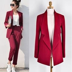 Women Casual Elegant Office Business Pant Suits