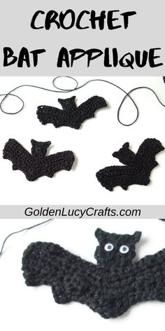 Crochet Bat Applique, Free Crochet Pattern Learn how to make this crochet Halloween Bat applique! It will be perfect for your handmade Halloween costume, as home decoration, embellishment for clothing and more! Crochet Pattern Free, Crochet Bat, Crochet Mignon, Owl Crochet Patterns, Crochet Turtle, Crochet Garland, Crochet Gratis, Crochet Decoration, Crochet Motifs