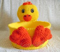 "Crochet Basket ""Duck"" - Chart For my Duck Friend Crochet Bowl, Crochet Cross, Crochet Yarn, Crochet Chicken, Easter Crochet Patterns, Crochet Decoration, Holiday Crochet, Crochet Animals, Crochet For Kids"
