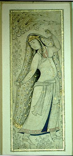 Woman dancer Persian Painting Musee du Louvre. Manuscript. Inv. 7131 Later Safavid painting of Isfahan Iran -- Isfahan Safavids - Iran -- 17th century Women dancers c. 1630 Current Exhibition Site Musee du Louvre