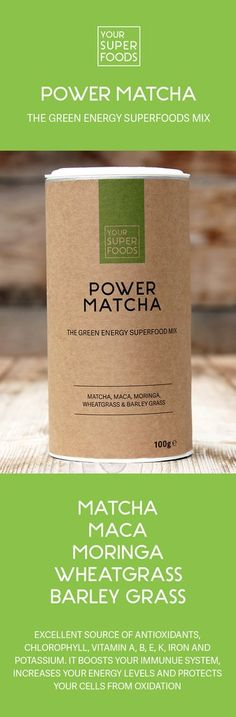 Raw, Organic, Vegan and Gluten Free! The Power Matcha Mix provides you with your daily portion of greens, long-lasting energy and antioxidant boost! It's perfect for healthy superfoods recipes!