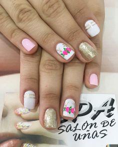 Uñas Nail Flowers, Flower Nails, Art Nails, Nail Art Diy, Nice Nails, Beautiful Nail Art, Nails Inspiration, Hair And Nails, Nail Colors
