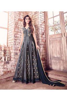 Party Wear Grey Banarasi Silk Anarkali Suit  - 17218