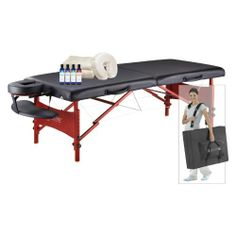 Master Massage 30 in. Black Massage Table Package with Deluxe Case Color - Black by Master Massage. $299.98. Durable northern hardwood construction. Comfortable 2-inch foam bed. Oversized fully adjustable armrest shelf. Adjustable face cradle with pillow. Includes deluxe case, cotton sheet set, 8-oz. bottles of lotion and oil. The Master Massage 30 in. Black Massage Table Package with Deluxe Case is the only table you will ever need to buy. This table is the perfect size, with ...