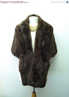 SALE 1940's Mink Jacket Stole Dark Brown by VintageClothingDream, $60.00