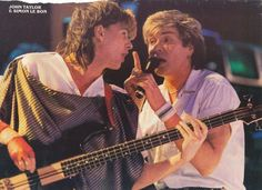 John Taylor and Simon Le Bon (I love that this is a picture of a ripped-out magazine picture)