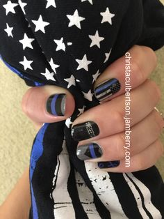 Nail Art Studio Designs of my own creation!! Thin Blue Line, Officer Support. christaculbertson.jamberry.com