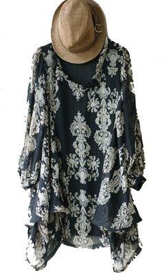 Black Vintage Round Neck Asymmetrical Long Sleeve Shirt